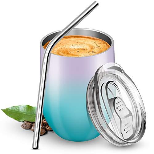 BICASLOVE Termo Taza Cafe 12oz/354ml,Botella de Agua Acero Inoxidable,Reutilizable,Botella Térmica sin BPA,con Paja y Cepillo,para Hogar,Vino,Café(Morado&Verde)