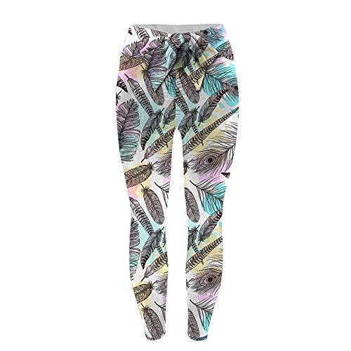 Leggins Estampado de Yoga para Mujer Pantalones Deportivos con Bowknot Leggings Push Up de Cintura Alta Pantalón de Deporte Transpirables Elásticos Mallas de Yoga para Correr Gym Fitness