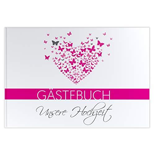 Gästebuch ohne Fragen Butterfly Heart Hochzeitsalbum Hochzeitsbuch Hochzeitsfeier pink