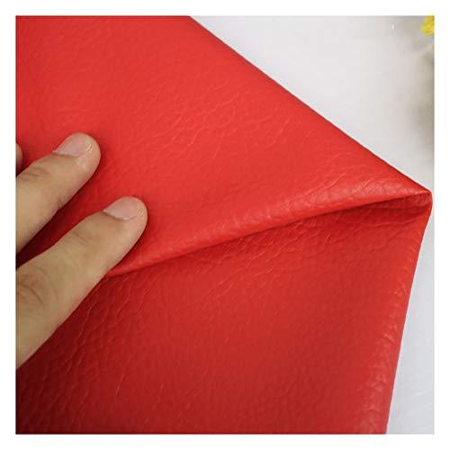wangk Cuero de imitación Tela Cuero sintético Vinilo Paño de Cuero Material de Tela 138cm de Ancho Tejidos Suave Tejido de Piel ecológica Venta de Polipiel por Metros -Rojo 1.38x10m