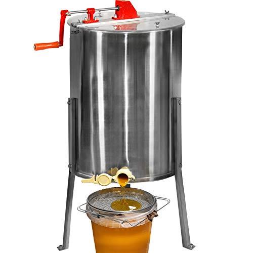 Jago® Honigschleuder - aus Edelstahl, manuell, für 4 Waben 24 x 42 cm, mit Deckel - Honig Extraktor, Schleuder, Tangentialschleuder, Honey Extractor, Imker und Bienenzüchter Zubehör