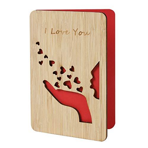 Romantisch Ich liebe dich Jubiläumskarten, Bambusholzkarte, Happy Valentines Day Karte, Geschenke für Sie / Ihn, Hochzeitstagskarten,