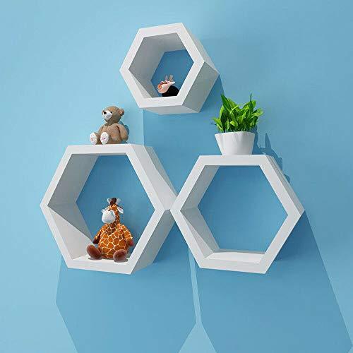 Kaibrite Juego de 3 estantes de pared hexagonales, 3 tamaños, de madera, color blanco