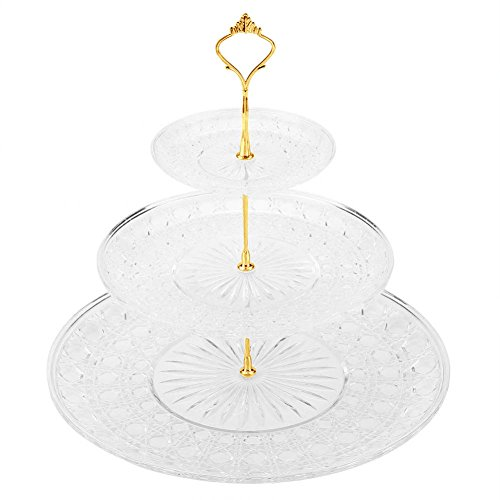 Cake Stand and Fruit Plate 3-Tier Acrylic Round Cake Tray Fruits Nuts Desserts Display Holder for Cakes Desserts Fruits Candy Buffet Stand for Wedding Home Birthday Party Serving Platter