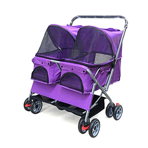 Cochecito de cochecito de cochecito de doble casilla de viaje para perros para perros plegable, buggy de mascotas para mascotas gatos negro púrpura con cubierta de lluvia max cargar 30kg ( Color : A )