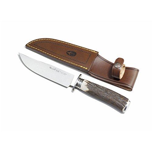 EIN Stück Jagdmesser Muela Elk, Hirschhorn Griff, Edelstahl-Schale, Gesamtgröße 26 cm + Mehrzweck-Geschenkkarte