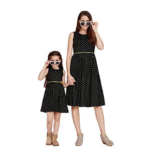 IFFEI Mommy and Me Kniekleid, ärmellos, goldfarben, gepunktet, Vintage-Stil, plissiertes Kleid für Mutter und Tochter Gr. 4-5 Jahre, Schwarz