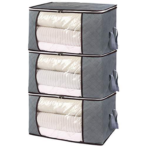 H.C Housecraft - 3 organizadores Plegables para Bolsas de Almacenamiento, Organizador de Ropa Grueso con Ventana Transparente Grande y Asas de Transporte para Ropa, Mantas, armarios, dormitorios