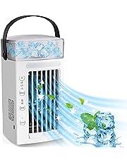SUMKUMY Portabel luftkonditionering, mini luftkylare USB, luftkylare 3 nivåer, [5 IN 1] mini luftkonditionering luftrening evaporativ kylare humörbelysning RGB, mobil flygkylare för sovrum kontor studie