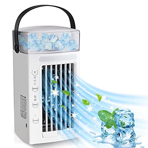ShiniUni Climatiseur mobile, Mini refroidisseur d'air USB, 3 niveaux - [5 en 1], Purificateur d'air, Rafraîchisseur d'air, Lumière d'ambiance RVB, Ventilateur mobile pour chambre à coucher, bureau