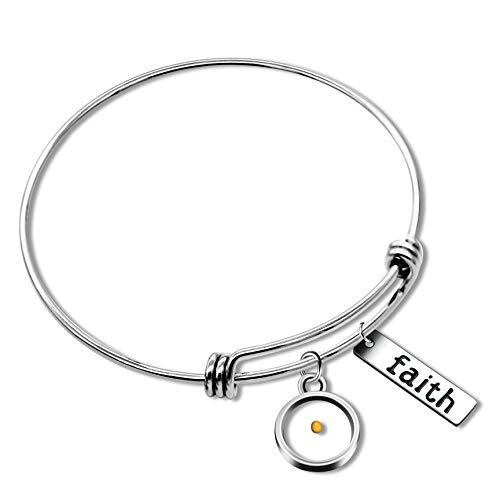 Uloveido Christian Bracelet Faith Bracelet Mustard Seed Faith Adjustable Bangle Religious Jewelry Gifts for Men and Women 2.5 inch