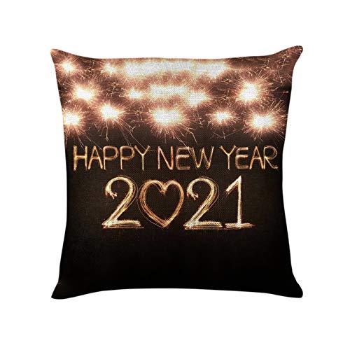 Janly Clearance Sale Funda de almohada, 2021 estampado piel de melocotón funda de cojín 1 pieza para decoración de Navidad hogar y jardín, (D)