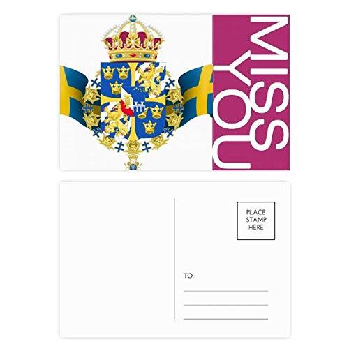 DIYthinker Schweden National Emblem Land Symbol Fräulein Postkartenset dankt Karte Mailing Side 20pcs 5.7 Zoll x 3.8 Zoll Mehrfarbig