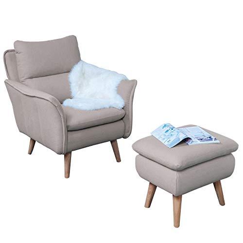 Relaxsessel + Hocker als Ohrensessel modern im Retrodesign mit Schlaffunktion Fernsehsessel Ruhesessel TV-Sessel Stuhl Relaxstuhl Liege Sessel mit Verstellbarer Rückenlehne und Fussteil Landhausstil