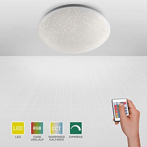LED Deckenlampe in Sternenhimmel-Optik, rund Ø39cm | dimmbare Deckenleuchte mit RGB-Farbwechsel, warmweisses Licht | Sternenlicht-Deckenbeleuchtung, Farbsteuerung über Fernbedienung