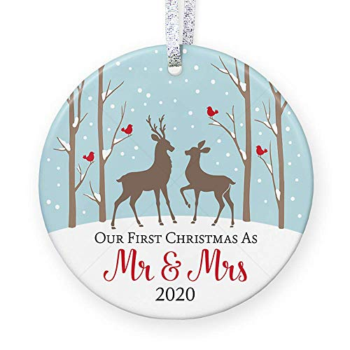 1st Christmas as Mr & Mrs Ornament 2020, Rustic First Married Christmas Ornament, Love Deer Gift for Bride Groom, Bridal Shower - 3' Flat Ceramic Ornament - Gold & Silver Ribbon + Free Gift Box