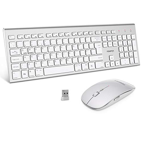 FENIFOX Wireless Keyboard & Mouse Set, Dual System Switching Ergonomic 2.4G USB QWERTY Full Size UK Layout for Computer PC Laptop Windows Mac (Silver & White)