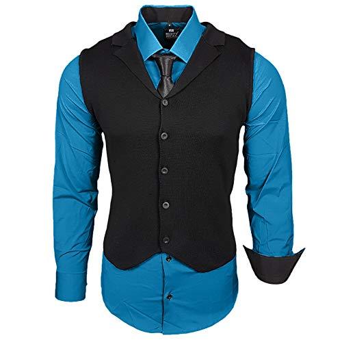 Rusty Neal Herren Hemd Weste Krawatte Set Hemden Business Hochzeit Freizeit Slim Fit, Größe:M, Farbe:Petrol
