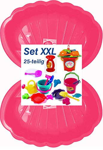 Sandbox Sandkasten Sandmuschel Muschel Wasser Planschbecken groß 108x79cm XL, 5 Farben! (2xrosa+25-TLG.Set)
