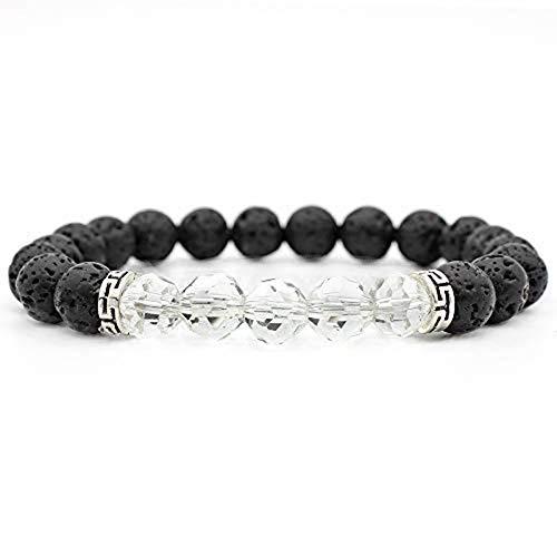 Armband van natuursteen, parelarmband mode yoga energie parels armband geluk 8 mm wit kristal zeven chakra parels vulkoon steen armband sieraad gepersonaliseerde kleding fitness accessoires geschenk
