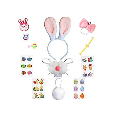 Spring Country Diadema de Conejo de Pascua Disfraz de Conejo para niños niñas Adultos Pascua Halloween Orejas de Conejo Disfraz