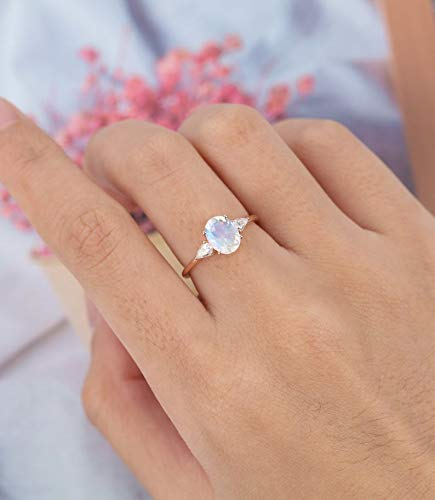 Oval cut Moonstone engagement ring Unique engagement ring vintage Delicate diamond wedding Bridal art deco Anniversary gift for women sterling silver ring moissanite ring Christmas gift jewelry