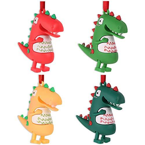 SICOHOME Dinosaur Christmas Ornament, 4 Packs Cute Dinosaur Christmas Ornament for Kids,Ornaments for Christmas Trees