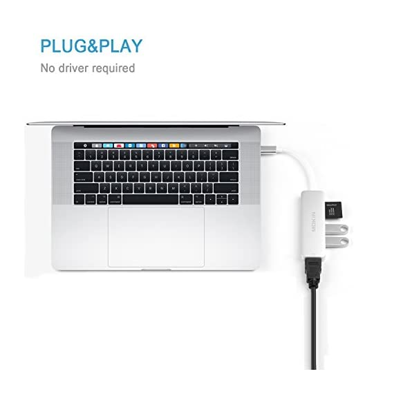 USB C Hub HDMI Adapter for MacBook Pro 2019/2018/2017, MOKiN 5 in 1 Dongle USB-C to HDMI, Sd/TF Card Reader and 2 Ports… 5 Usb-c hub (5-in-1): extend one 4K UHD HDMI port, two Supper speed USB 3.0 Ports, one SD Memory Card slot and one TF memory card slot from one USB-C/Thunderbolt 3/ Type C port 4K video USB-C to HDMI Adapter: mirror or extend your screen with USB C hub HDMI port and directly stream 4K UHD @ 30Hz or full HD 1080P video to HDTV, monitor or projector Super speed USB 3.0 ports(at full-speed): allow you to connect keyboard, Mouse, hard drive, etc to MacBook Pro, up to 5Gbps data transmission speed, down compatible with USB A 2.0 and below. Because HDD/SDD needs more power, so this adapter only allow connect 1 HDD/SSD and this adapter won't support Apple USB Super drive.