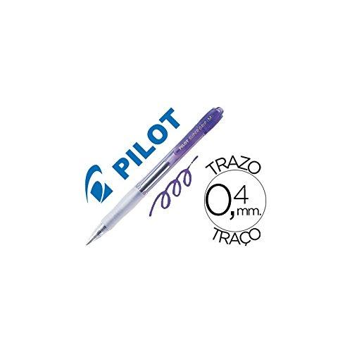 BOLIGRAFO PILOT SUPER GRIP RETRACTIL SUJECION DE CAUCHO TINTA DE ACEITE VIOLETA NEON (12 unid.)