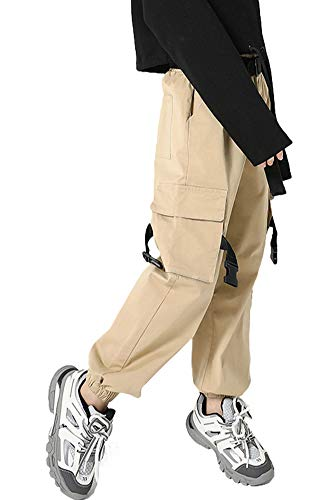 Rolanko Girls Jogger Cargo Pants with Pocket Baggy Streetwear Hip Hop Dance Trousers for Boys Kids Clothing (Khaki, 10-12)