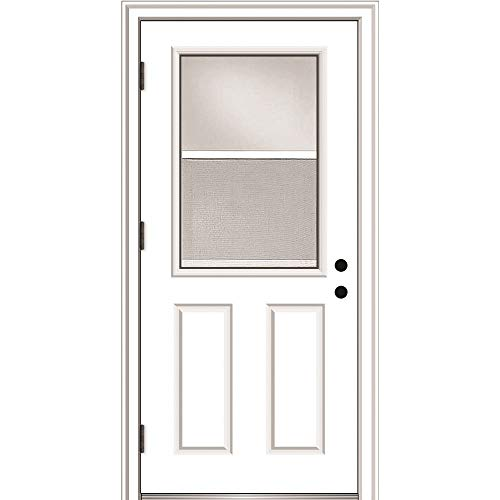 National Door Company - ZA364690R ZZ364690R Fiberglass, Primed, Right Hand Outswing, Prehung Door, 1/2 Lite 2-Panel, Clear Glass with Venting Screen, 32'x80', Fiberglass