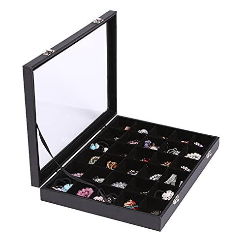 Aexle Joyero con tapa para cinturón negro transparente para anillos, joyero, joyero, joyero, joyero, caja de joyería