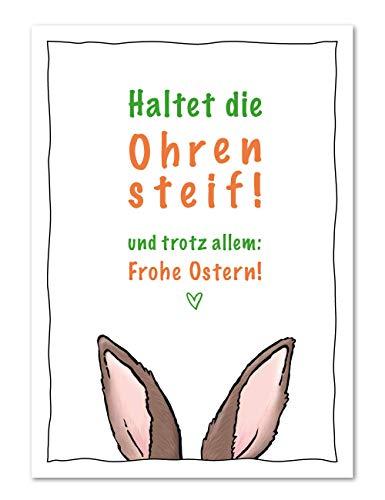 10er Osterkarten Set Frohe Ostern und haltet die Ohren steif - Postkarten für Ostergrüße in Zeiten von Corona (10 Stück)