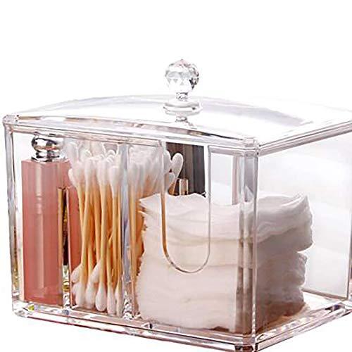 zhipeng Caja de Almacenamiento de algodón de Maquillaje Caja de hisopos de algodón acrílico con Tapa 4 Compartimento o para hisopos Otton, Huevos de Maquillaje, lápiz Labial hsvbkwm