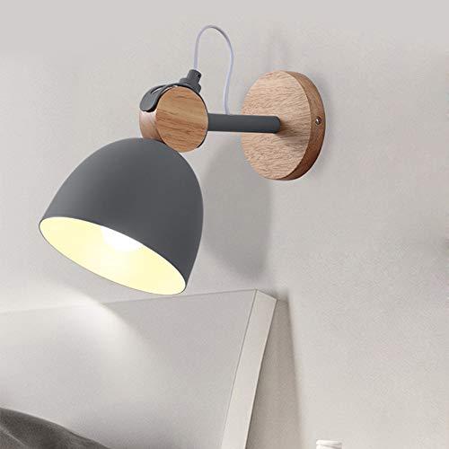 HORKEY E27 - Lampada da parete a LED, per interni ed esterni, angolo di illuminazione regolabile, modello scandinavo, colore: grigio