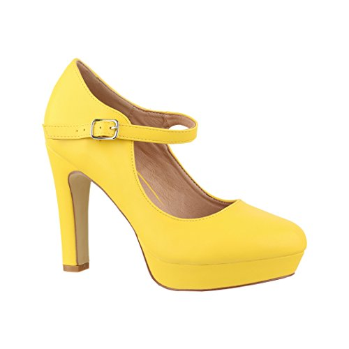 Elara Damen High Heels Pumps Riemchen Vintage Chunkyrayan ZZ22320 Yellow-39