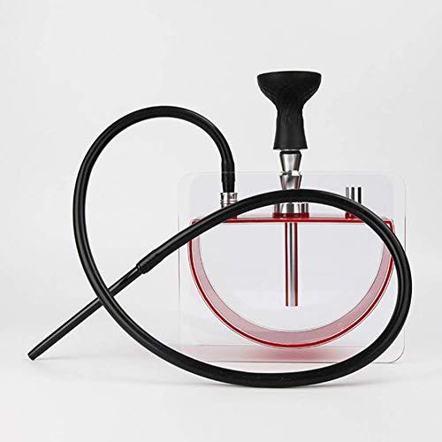 XBR Juego de cachimba portátil, Juego de cachimba con 1 Manguera, Accesorios de cachimba con Pinzas para carbón, Base acrílica Cuadrada, Recipiente de Agua semicircular, Rojo