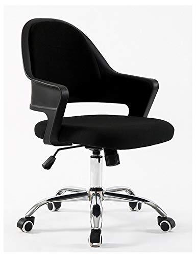 Silla de trabajo giratoria con respaldo medio, silla de escritorio ajustable para computadora de oficina con malla transpirable y agradable a la piel para mujeres, adultos, hombres, color negro