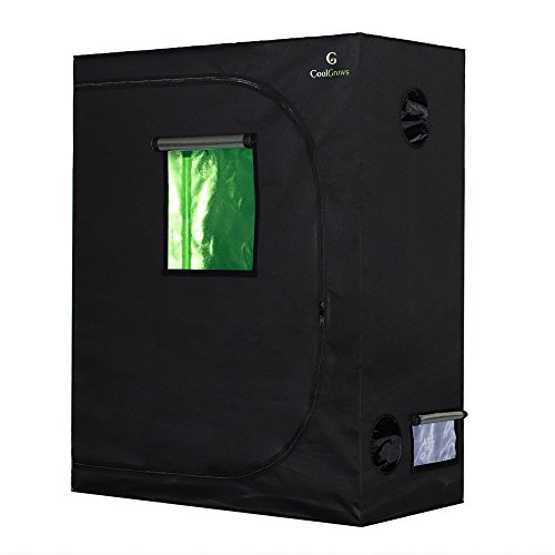 """CoolGrows Grow Tent, 48""""x24""""x60"""" Mylar Hydroponic Grow Tent with Observation Window and Floor Tray for Indoor Gardening Plant Growing (48""""x24""""x60"""")"""