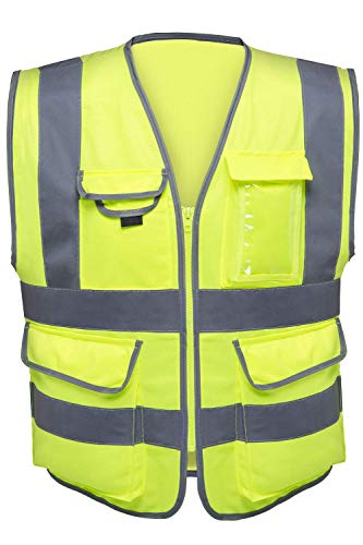 Neiko 53993A High Visibility Safety Vest with 7 Pockets and Zipper, Neon Yellow | Size M