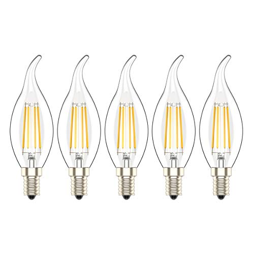 Lampadina Filamento LED Candela Casquillo E14 4W,Lampadine LED E14 a Candela,Luce Bianco Caldo 2700K,30 W equivalenti a incandescenza,Pacco da 5 Pezzi