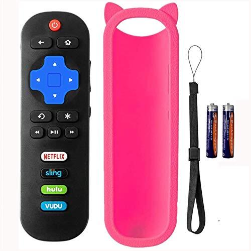 Bedycoon Ersatz-Fernbedienung kompatibel mit Sanyo Roku TV FW32R19F FW32R18FC FW40R48FC und Rosa Fernbedienung mit Batterien