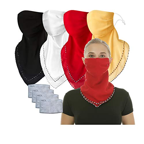 2 or 4 or 6 Pack Women Face Scarf Mask Chiffon Face Covers Filter Pocket Neck Gaiter Balaclava (Black White red Yellow, one Size)