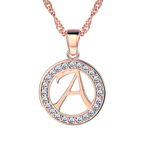 Suplight Letter A Necklace Personalized Jewelry Rose Gold Cubic Zirconia Crystal Initial Alphabet Pendant Necklace Thanksgiving Day Gift for Women