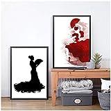 DLFALG Cuadro de pared con impresión de arte de bailarina de flamenco española, pintura en lienzo de baile flamenco abstracto arte español decoración del hogar 40x50cmx2 sin marco