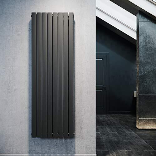 Design Flach Heizkörper 1800x616mm Antrazit Paneelheizkörper Vertikal Mittelanschluss Doppellagig
