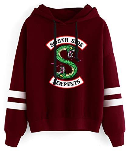HUASON Riverdale Felpe con Cappuccio da Donna Southside Serpents Logo Sweatshirt Colore Solido Pullover a Maniche Lunghe(S)