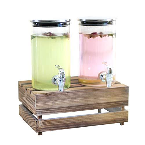 Dispensadores de bebidas de doble vidrio con párpado de metal Base de entretenimiento Cocina de cocina Cristalería para el jugo de agua Bebidas frías Nevera PUSHER FIESTE FRIGORÍA Frigorífico Leche pr