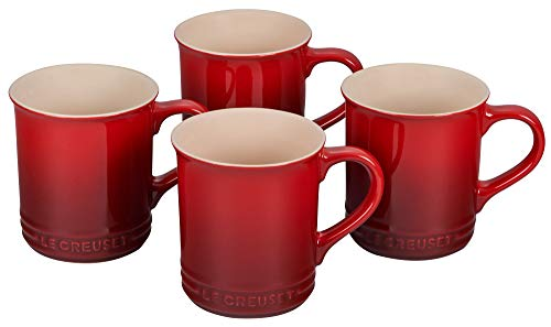 Le Creuset PG90433A-0067 Stoneware Mug, Set of 4, 14-Ounce, Cerise