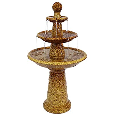 Sunnydaze Floral Motif 3 Tier Outdoor Water Fountain with LED Lights - Backyard Water Feature & Waterfall Garden Fountain for The Patio, Yard, Deck - 45 Inch Tall